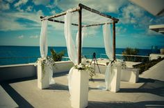 Anguilla Blush And Grey Wedding, Black Orchid, Gray Weddings, Orchids, Greenery, Gazebo, Destination Wedding, Outdoor Structures, Table Decorations