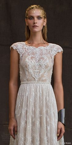 limor rosen bridal 2016 treasure anastasia wedding dress cap sleeves beaded lace blush tulle skirt beaded belt bodice close up