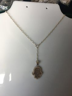 Sterling Silver  HamsaNecklace ,Y necklace,hamsa pendant,lariat necklace,Hand of Fatima necklace, collar Mano de Fatima de Silverandme en Etsy