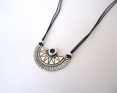 Sterling Silver Sun Ethnic Pendant, silky cotton necklace - Tribal Ethnic Necklace, Contemporary Jewelry, Symbolic Representation of the sun