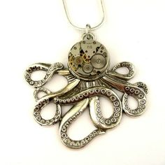 Steampunk Octopus Necklace - Clockworks Silver Octopus Pendant Octopus Jewelry, Steampunk Octopus, Vintage Watches, Pendants, Pendant Necklace, Silver, Ebay, Antique Watches, Hang Tags