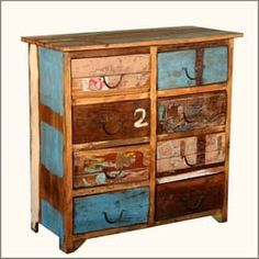 Reclaimed Wood Distressed Paint Patch 8 Drawer Double Dresser Chest
