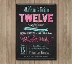 Pyjama Party Birthday Invitation.  Chalkboard Polka dots. Tweens Teenage Party Invitation. Printable. DIY by TracyAnnPrintables on Etsy https://www.etsy.com/listing/195852787/pyjama-party-birthday-invitation