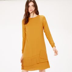 Warehouse, PLEATED HEM SHIFT DRESS Mustard 3