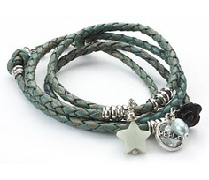 Exoal Leather twist bracelet vert - z ~ Beautiful!