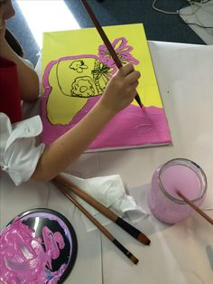 Starting to paint, beginning with the background - she chose this gorgeous Magenta...