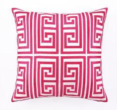 Greek Key Magenta Pillow - Tina Turk