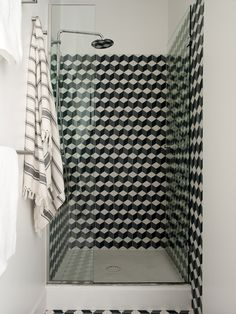 Geometric Tiled Shower |