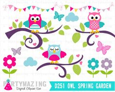 Owl ClipArt Owl Garden Clipart Set Spring Owl by Partymazing