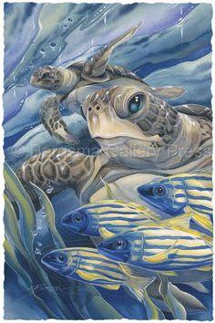 Bergsma Gallery Press :: Paintings :: Natural Elements :: Sea Life :: Sea Turtles :: The Sea Has Eyes - Prints