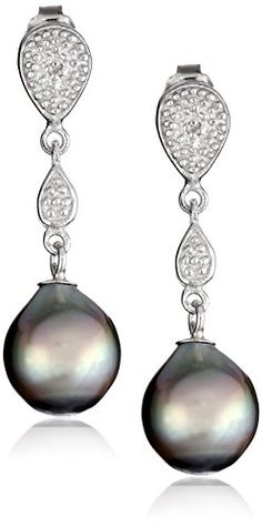 Diamond Earrings Design   Sterling Silver 885mm Tahitian Cultured Black Pearl and Diamond Drop Earrings ** More info could be found at the image url.(It is Amazon affiliate link) #80likes