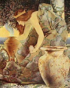 Maxfield Parrish - Arabian Nights Gulnare of the Sea, 1909