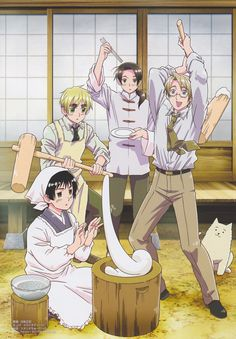 Hetalia ~~~ Japanese New Years Tradition enacted by Pochi, America, China, England and Japan. ::: From PASH Magazine in 2010.