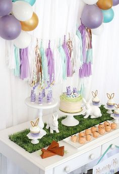 Bunny Bash Dessert Table, An Easter Party by A Lovely Design | Black Twine #easter #easterdessert #bunnyparty