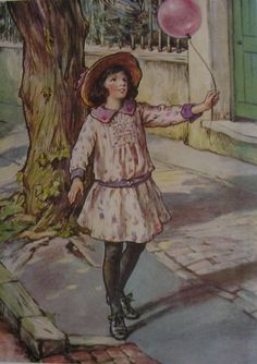 CICELY MARY BARKER Original Vintage Children's Print The Balloon from 1923 - 91 year old - Matted - Ready to Frame