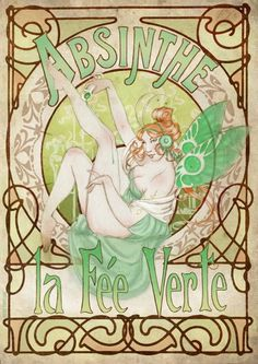 """La Fée Verte"" Inspired on absinta art nouveau posters  https://www.facebook.com/photo.php?fbid=419480951473118&set=a.184334661654416.48482.184017495019466&type=3&src=https%3A%2F%2Fscontent-a-mad.xx.fbcdn.net%2Fhphotos-ash2%2F521316_419480951473118_2082316633_n.jpg&size=679%2C960"