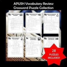 A strong knowledge of vocabulary is one of the most important factors for success on the AP U. This bundle includes 28 crossword puzzles with all the vocabulary students will need for the APUSH exam. Crossword puzzles can help teach, reinf School Levels, School Grades, Ap Test, Test Prep, Social Studies Activities, Learning Activities, Help Teaching, Teaching Resources, High School Classroom