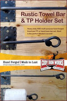 Hand forged home decor by Wyoming Blacksmith NJ Pawley by CodyIronWorks Towel Holders, Western Homes, Bar Set, Rustic Industrial, Blacksmithing, Wyoming, Iron, Steel, Bathroom