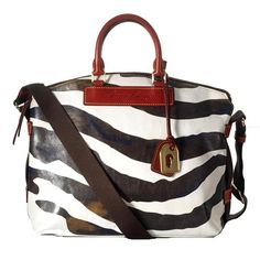 Dooney & Bourke Distressed Juliette Zebra Print Domed Satchel Handbag