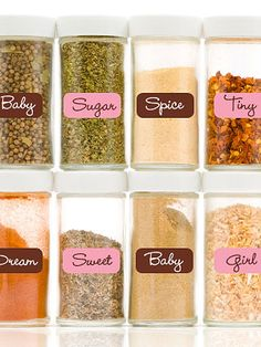 Spice Rack Centerpiece:  Can then be used as a game by passing around and having guests guess what the real spice is.