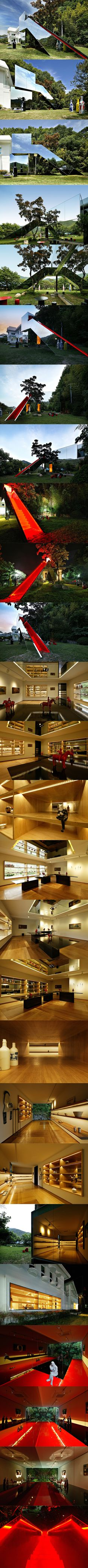 ART 23.5 Jung Gil-Young gallery Design : YOON SPACE . Yoon Seok-min (ysm7791@naver.com)  Design Team : YOON SPACE . Rita-kim  / SP R&D. Park Jung-su Location : 247Jiseul-ri,Gakbuk-myeon,Cheongdo-gun,Gyeongsangbuk-do, Korea Function : Gallery Finish : Floor/Plywood, Epoxy , Wal/Wallpaper, Mirror, Glass , Ceiling/Wallpaper,Mirror Built Area : 115m2 Construction : SP R&D. Park Jung-su Photographs : Indiphos .Song Gi-myoun
