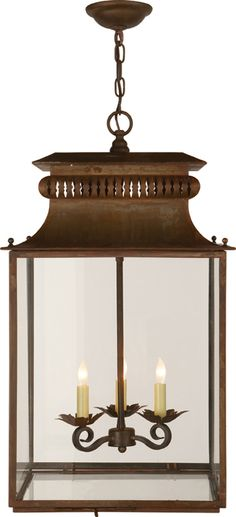 "HONORE HANGING LANTERN - circalighting, Height: 27"" *  Width: 16""  Canopy: 4 3/4"" Round  Chain: Ships With 6 ft of Chain  Wattage: 3 - 60 Watt Type C  Socket: Candelabra, $1050"