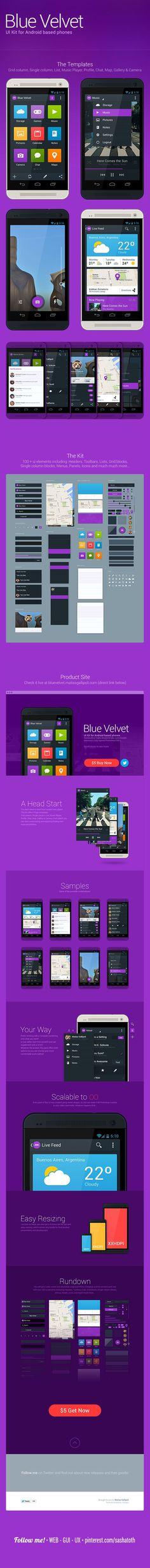 Blue Velvet UI Kit by Matias Gallipoli, via Behance *** Blue Velvet, a handcrafted, highly detailed  fully customizable UI Kit for Android *** #gui #ui #kit #behance