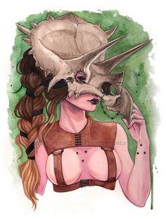 Triceratops Dinosaur Skull Mask watercolor Art Print Carla Wyzgala Carlations
