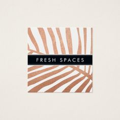 MODERN TROPICAL PALM LEAF logo trendy rose gold Square Business Card -  [ NOTE - THE SHINY ROSE GOLD EFFECT IS A PRINTED PICTURE ]  A plain, rustic design for your business... #custom #beach themed #gift #profilecard design by #edgeplus - #profilecard #jewellery #handmade #beach #stylist #tanning #salo...