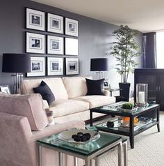 """Gray-Cream palette - In this living room I was going for a modern Big City look and the color palette of gray, cream and black was chic yet still warm. The gray on the wall is Benjamin Moore's """"Chelsea Gray"""" #HC - 168 - it's rich without being too cold and it works well in rooms with lots of natural light."""