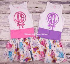 Favorite Princesses Purple Yoga Waist Twirl Skirt and matching Monogram Tank Tops