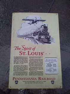 Spirit Of St Louis & Pennsylvania Railroad AAA Sign Co Tin Advertising Sign #AAASignCo