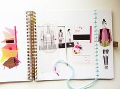 Fashion Sketchbook - colourful inspiration, layout, fashion portfolio - Yvonne Kwok