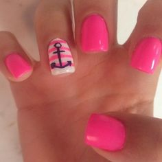Having short nails is extremely practical. The problem is so many nail art and manicure designs that you'll find online Love Nails, Pretty Nails, Fun Nails, Anchor Nails, Cute Nail Designs, Pedicure Designs, Anchor Nail Designs, Pedicure Ideas, Nails With Anchor Design