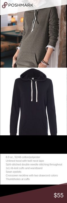 Independent Trading Co Hooded Pullover Dress See pics for specific details. Available color is Black not green  shown in pic for fit example. Independent Trading Co Dresses Long Sleeve