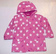 Hatley Pink Star Terry Cloth Lined Waterproof Hooded Rain Coat Jacket Girls 2 2T #Hatley #Raincoat #Everyday