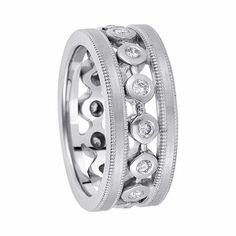 Bezels Of Precicious Metal Are Burnished With Round Brilliant Diamonds In The Center Of This Contemporary Eternity Wedding Ring Accented With Rows Of Milgrain For Both Men & Women