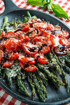 Balsamic Parmesan Roasted Asparagus and Tomatoes - 68 mg of sodium per serving.