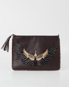 1.2.3 Paris - Les accessoires automne hiver 2014 - Pochette marron XXL en cuir avec motif aigle Gwen 99€ #123paris #mode