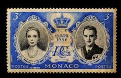 Monaco -circa 19 APRIL 1956, Postal stamp showing Prince Rainier and Grace Kelly   19 April 1956