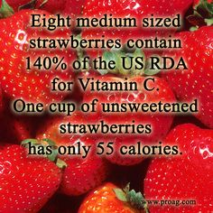 Friday Fun Ag Fact: Eight medium sized strawberries contain 140% of the U.S. RDA for Vitamin C. One cup of unsweetened strawberries has only 55 calories!
