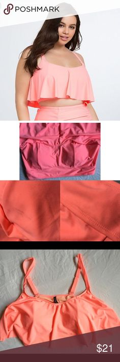 Torrid2 bikini top Pullover swim top with adjustable straps. Some markings under ruffle top. See pics. Might come out in wash. This color was really hard to capture. It is a orange / coral neon/highlighter. Torrid2 torrid Swim Bikinis