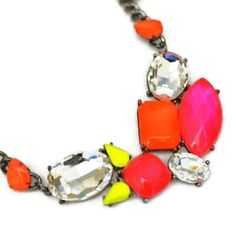 neon jewelry painted rhinestone necklace - $48