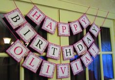 Damask birthday party banner