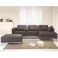 Beliani Oslo Brown Modern Sectional Sofa Genuine Leather 15344109 Abs