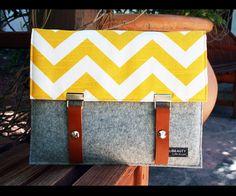 wool felt and chevron pattern padded iPad cover