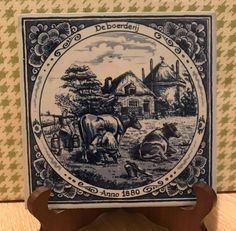 Farm House Delft Blauw Blue 6 Tile  Series Old by cul8rg8r on Etsy
