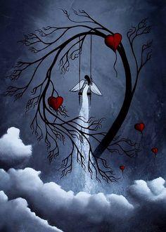 Cloud and Tree Print Fantasy Art - Heartache and poetry 45 by Jaime Best Tree Print, Angel Art, Fairy Art, Moon Art, Print Artist, Whimsical Art, Painting Inspiration, Amazing Art, Fantasy Art