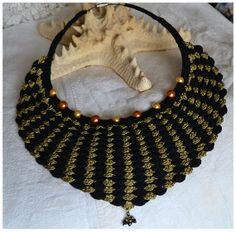 statement,statement necklace,evening,cocktail,silk,dragon,mermaid,scales,crochet,black,golden,crystals,glass pearls,elegant,