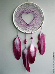 Ловец снов для влюбленных - розовый,сливовый,сливочный цвет,перья,перья птиц